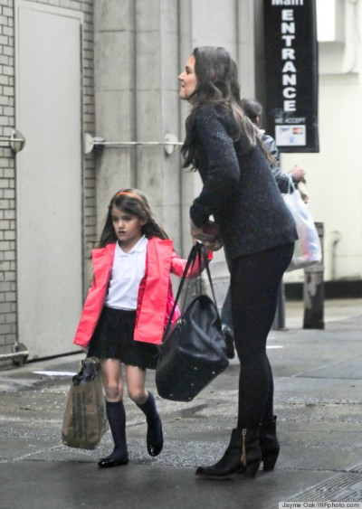 Exclusive - Katie Holmes And Suri Cruise Get Home From School