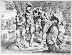 Odysseus removing his men from the company of the lotus eaters