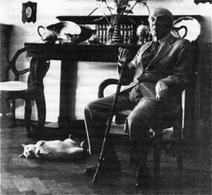 Borges with cat